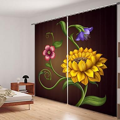 illusztráció stílusú napraforgó digitális nyomtatás 3d függöny árnyékoló függöny nagy pontosságú fekete selyem anyagból kiváló minőségű függöny