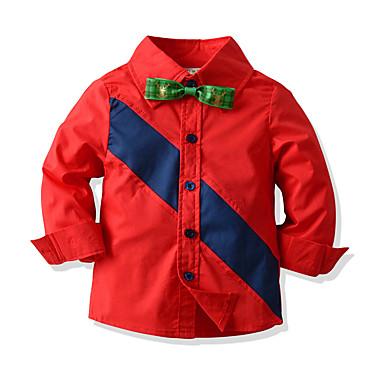 povoljno Odjeća za dječake-Djeca Dijete koje je tek prohodalo Dječaci Osnovni Color block Božić Kolaž Dugih rukava Pamuk Majica Red