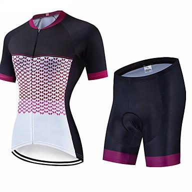 CAWANFLY Női Rövid ujjú Keréspáros dzsörzé nadrággal Fekete Geometriai Bike Ruházat 3D-s párna Gyors szárítás Tél Sport Spandex Lycra Geometriai Hegyi biciklizés Országúti biciklizés Ruházat / Haladó