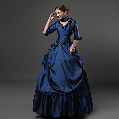 [$129.99] Rococo Victorian 18th Century Dress Party Costume Masquerade  Costume Ink Blue Vintage Cosplay Party Prom 3/4 Length Sleeve Sweep / Brush  ...