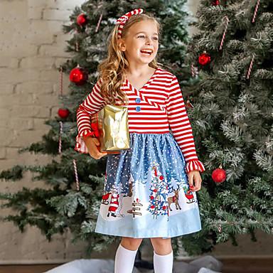 povoljno Girls' Party Wear-Djeca Dijete koje je tek prohodalo Djevojčice Aktivan slatko Djed Mraz Prugasti uzorak Snowflake Božić Print Dugih rukava Iznad koljena Haljina Red