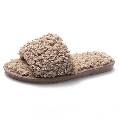 voordelige Damespantoffels & slippers-Dames Slippers & Flip-Flops Platte hak Open teen Microvezel Zoet / minimalisme Winter / Herfst winter Zwart / Bruin / Groen
