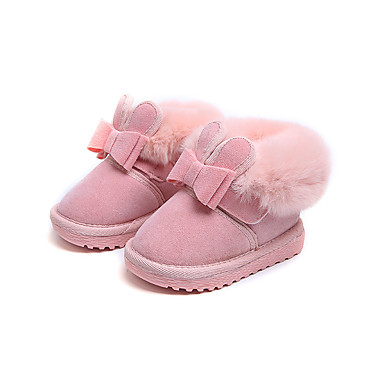 cheap New Arrivals-Girls' Snow Boots / Flower Girl Shoes Suede Boots Toddler(9m-4ys) Feather / Bowknot Black / Red / Pink Fall / Winter / Party & Evening