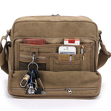 cheap Men's Bags-Shoulder Messenger Bag Crossbody Bag Men's Canvas Zipper Solid Color Daily Black Khaki Brown