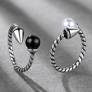 levne Pánské šperky-Pánské Dámské manžeta Ring 1ks Černá Bílá Napodobenina perel Slitina Lidová Style Steampunk Dar Denní Šperky
