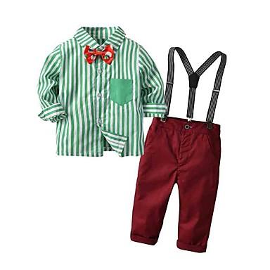 ราคาถูก เช็คดูสินค้าขายดีของเรา-ทารก เด็กผู้ชาย Street Chic ลายแถบ คริสมาสต์ แขนยาว ปกติ ชุดเสื้อผ้า ทับทิม / Toddler
