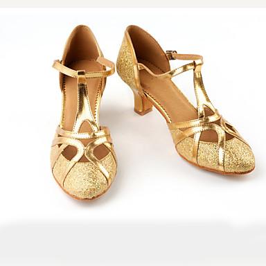 cheap Ballroom Shoes & Modern Dance Shoes-Women's Modern Shoes / Ballroom Shoes Satin Buckle Heel Splicing Cuban Heel Dance Shoes Black / Dark Brown / Gold / Performance