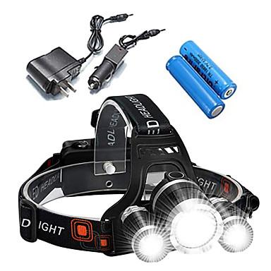 ANOWL Φακοί Κεφαλιού Μπροστινό φως ποδηλάτου Επαναφορτιζόμενο 2400 lm LED 3 Εκτοξευτές 4.0 τρόπος φωτισμού με μπαταρίες και φορτιστή Επαναφορτιζόμενο Φορητά Επαγγελματικό Ανθεκτικό στα Χτυπήματα