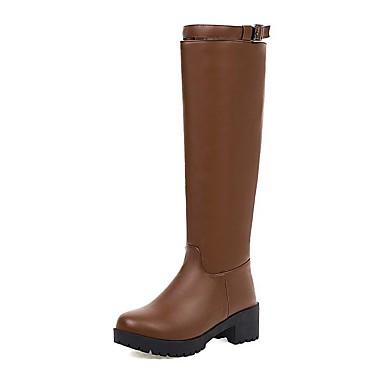 voordelige Dameslaarzen-Dames Laarzen Blokhak Ronde Teen PU Knielaarzen Informeel / Brits Winter Zwart / Bruin