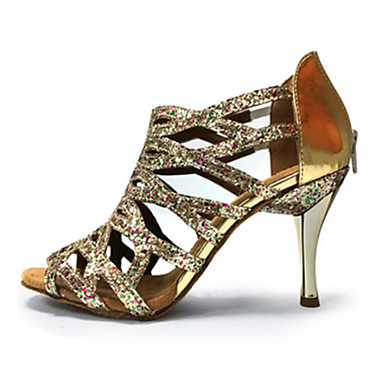 preiswerte Tanzschuhe-Damen Tanzschuhe Kunststoff Schuhe für den lateinamerikanischen Tanz Seide aushöhlen Absätze Schlanke High Heel Maßfertigung Schwarz / Purpur / Gold