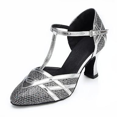 preiswerte Tanzschuhe-Damen Tanzschuhe Spitze Schuhe für modern Dance Quaste Absätze Kubanischer Absatz Maßfertigung Silber / schwarz / Gold / Leistung