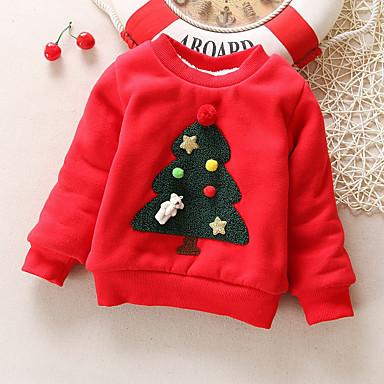 preiswerte Kapuzenpullover & Sweatshirts für Babys-Baby Mädchen Grundlegend Rot Druck / Solide / Weihnachten Langarm Baumwolle Kapuzenpullover Rosa