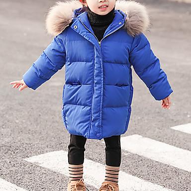 preiswerte Winter-Kinderkleidung-Kinder Baby Mädchen Grundlegend Street Schick Solide Pelzkragen Lang Daunen & Baumwoll gefüttert Schwarz