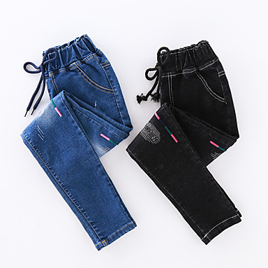 cheap Girls' Jeans-Kids Toddler Girls' Basic Street chic Solid Colored Embroidered Jeans Black