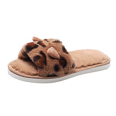 voordelige Damespantoffels & slippers-Dames Slippers & Flip-Flops Platte hak Open teen Suède Informeel / Zoet Winter / Herfst winter Bruin / Blauw / Roze / Luipaard