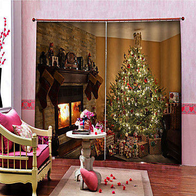 cheap Curtain Accessories-Christmas Privacy Two Panels Curtain