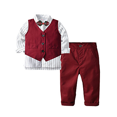cheap Boys' Clothing Sets-Kids Toddler Boys' Basic Birthday Party Party & Evening Solid Colored Long Sleeve Regular Regular Clothing Set Wine