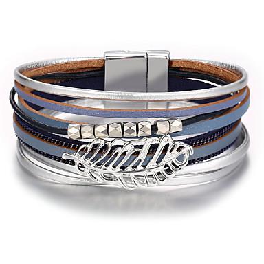 levne Dámské šperky-Pánské Dámské Kožené náramky Klasika Peří Módní Lidová Style PU Náramek šperky Světle modrá Pro Dar Denní Práce