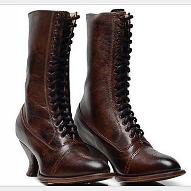 preiswerte Schuhe und Taschen-Damen Stiefel Komfort Schuhe Stöckelabsatz Runde Zehe PU Mittelhohe Stiefel Winter Schwarz / Braun