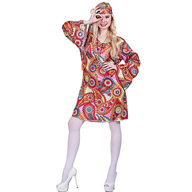 Θύσανος Βίντατζ Δεκαετία '60 Χίπισσα Δεκαετία '70 Κοστούμι πάρτι Γυναικεία Στολές Ρουμπίνι Πεπαλαιωμένο Cosplay Μακρυμάνικο / Φλοράλ
