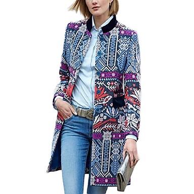levne Novinky-Dámské Denní Podzim zima Dlouhé kimono Jacket, Geometrický Rovný límeček Dlouhý rukáv Bavlna Vodní modrá