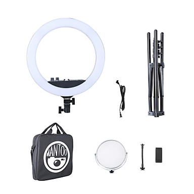 preiswerte Deko-Lichter-Mantoo 18 LED-Ringlicht einstellbare Farbtemperatur 3200-5600k warme bis kalte Farbe mit Standfuß Telefonhalter Make-up youtube tik tok vlog und Rebe Selbstporträt