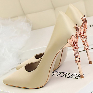 cheap Women's Heels-Women's Heels Stiletto Heel Pointed Toe Rubber / PU Spring Black / White / Champagne