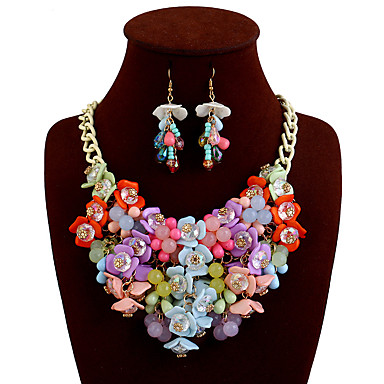 cheap Statement Necklaces-Women's Statement Necklace Bib Flower Ladies European Cute Chunky Alloy Black Light Blue Rainbow Yellow Pink Necklace Jewelry For Daily Casual
