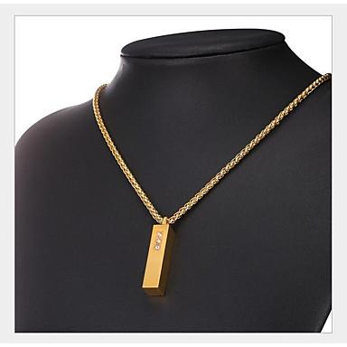 levne Pánské šperky-Pánské Dámské Kubický zirkon Náhrdelníky s přívěšky Geometrické Vertikálně Módní Mosaz Zlatá Stříbrná 50 cm Náhrdelníky Šperky 1ks Pro Dar Denní