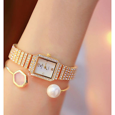 cheap Square & Rectangular Watches-Women's Quartz Watches Quartz Formal Style Modern Style Luxury Casual Watch Stainless Steel Silver / Gold / Rose Gold Analog - Rose Gold Gold Silver One Year Battery Life