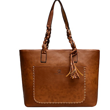 cheap Top Handles & Tote Bags-Women's Zipper PU Top Handle Bag Solid Color Black / Brown / Dark Brown