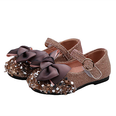 cheap New Arrivals-Girls' Flower Girl Shoes PU Flats Toddler(9m-4ys) / Little Kids(4-7ys) Bowknot / Sequin Silver / Pink Spring / Fall / Rubber