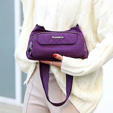 preiswerte Schuhe und Taschen-Damen Reißverschluss Nylon Schultertasche Volltonfarbe Purpur