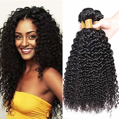 povoljno Ekstenzije od ljudske kose-3 paketa Kinky Curly Ljudska kosa Netretirana  ljudske kose Ljudske kose plete Styling kose Bundle kose 8-28 inch Prirodna boja Isprepliće ljudske kose Smooth Sexy Lady Najbolja kvaliteta Proširenja