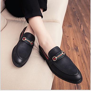Férfi Kényelmes cipők PU Tél Papucsok & Balerinacipők Fekete