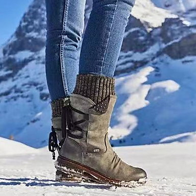 billige Utvalgte tilbud-Dame Støvler Komfort Sko Flat hæl Rund Tå PU Støvletter Høst vinter Lilla / Gul / Blå