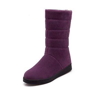 voordelige Dameslaarzen-Dames Laarzen Platte hak Ronde Teen Satijn Kuitlaarzen Informeel Winter Zwart / Kameel / Paars