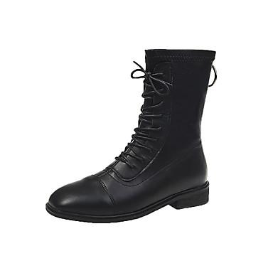 voordelige Dameslaarzen-Dames Laarzen Blok hiel Vierkante Teen PU Winter Zwart