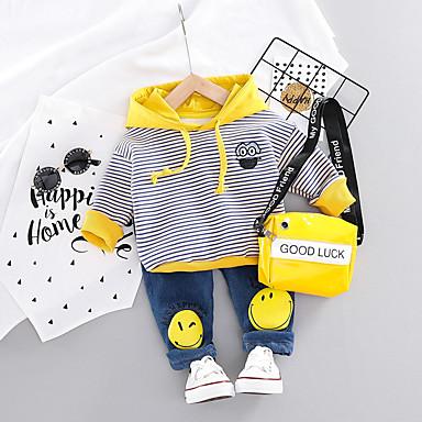 preiswerte Babykleidung-Baby Jungen Aktiv / Grundlegend Geometrisch / Druck Druck Langarm Standard Standard Kleidungs Set Orange