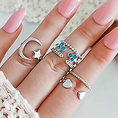 billige Motering-Dame Ring Ring Set Åpne Ring 6pcs Sølv Strass Legering Annerledes Klassisk trendy Mote Gave Daglig Smykker Retro MOON Hjerte Stjerne