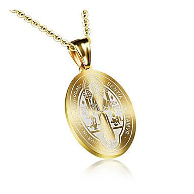 cheap Pendant Necklaces-Men's Pendant Necklace Geometrical Faith Fashion Titanium Steel Gold 45+5 cm Necklace Jewelry 1pc For Daily Work