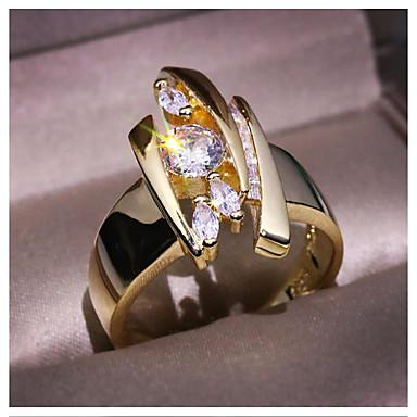 levne Dámské šperky-Dámské Prsten 1ks Zlatá Mosaz Umělé diamanty Geometric Shape Módní Dar Denní Šperky Geometrické Yıldız Cool