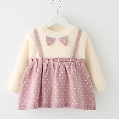お買い得  赤ちゃんウェア-赤ちゃん 女の子 活発的 波点 長袖 ドレス ワイン