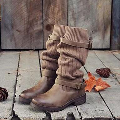 ราคาถูก ฤดูใบไม้ร่วง 2019-สำหรับผู้หญิง บูท รองเท้าสบาย ๆ ส้นแบน ปลายกลม PU บู้ทสูงระดับกลาง ฤดูใบไม้ร่วง & ฤดูหนาว สีดำ / สีเทา / สีกากี