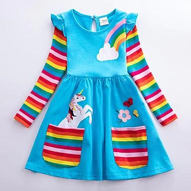 cheap Baby & Kids-Kids Girls' Active Unicorn Geometric Animal Print Long Sleeve Above Knee Dress Blue