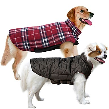 cheap Pet Supplies-Dog Coat Vest Winter Dog Clothes Reversible Brown Green Red Costume Cotton Plaid / Check Keep Warm Reversible XS S M L XL XXL