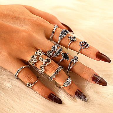 billige Motering-Dame Ring Ring Set 14pcs Sølv Legering Annerledes Klassisk Vintage trendy Gave Daglig Smykker Vintage Stil Elefant Kjæreste Stjerne