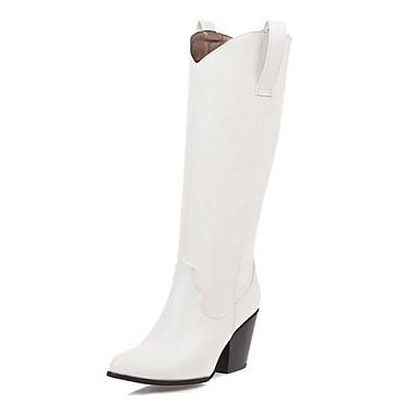 voordelige Dameslaarzen-Dames Laarzen Blokhak Gepuntte Teen PU Knielaarzen Informeel / minimalisme Winter Zwart / Bruin / Donker Grijs