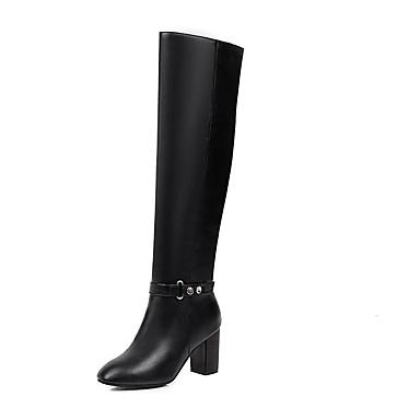 voordelige Dameslaarzen-Dames Laarzen Blokhak Ronde Teen PU Over de knie laarzen Informeel / Brits Winter Zwart / Bruin
