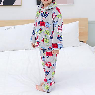 preiswerte Unterwäsche & Socken für Jungen Babys-2pcs Baby Jungen Druck Schnalle / Druck / Grundlegend Schlafanzüge Grau